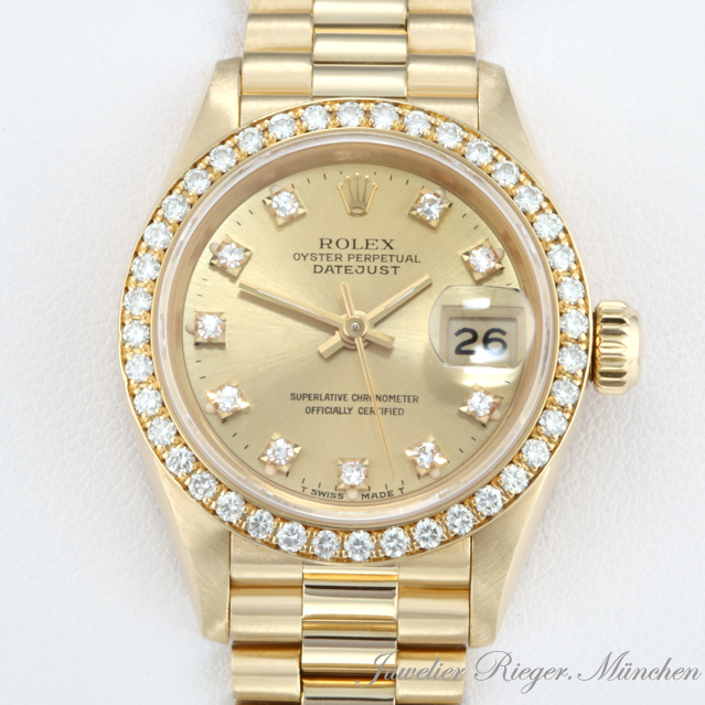 rolex uhr lady date just gold 750 diamanten automatik damen armbanduhr damenuhr ebay. Black Bedroom Furniture Sets. Home Design Ideas
